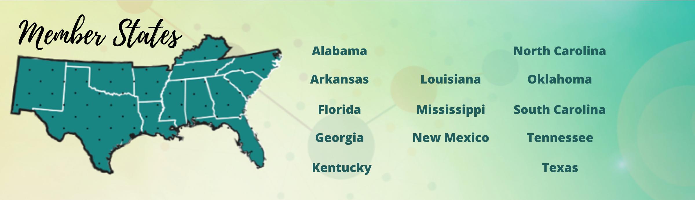 US map on the left with the header Member States. List of member states including: Alabama, Arkansas, Florida, Georgia, Kentucky, Louisiana, Mississippi, New Mexico, North Carolina, Oklahoma, South Carolina, Tennessee, and Texas.